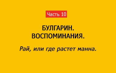 РАЙ, ИЛИ ГДЕ РАСТЕТ МАННА (часть 10)