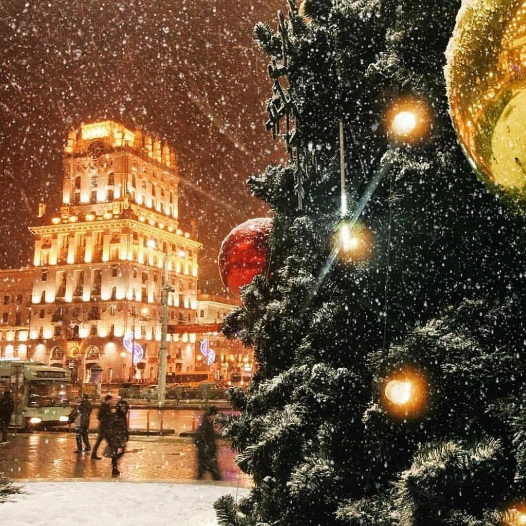 Минск зимой. Привокзальная площадь. Minsk